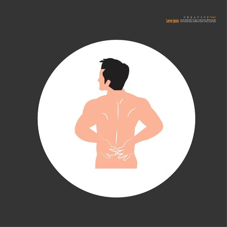 backache concept. anatomy with pain point. man having pain at back. vector illustration.