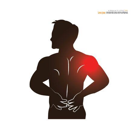Concepto de dolor de hombre. anatomía con punto de dolor. hombre que tiene dolor en el hombro. ilustración vectorial.