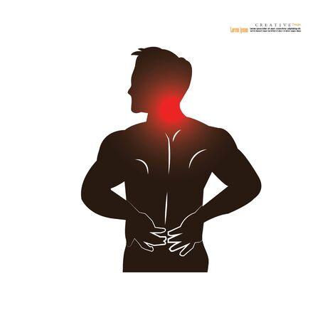 Concepto de dolor de hombre. anatomía con punto de dolor. hombre que tiene dolor en el cuello. ilustración vectorial.