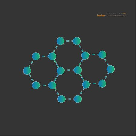 Nanotechnology concept with graphene atomic structure, vector icon - Vector illustration.