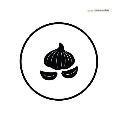 Garlic  vector icon on white background - Vector illustration. Иллюстрация