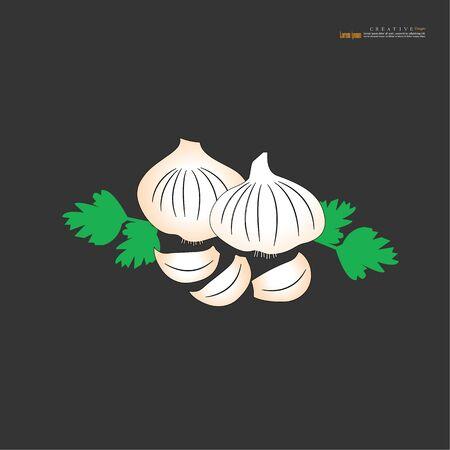Garlic  vector icon on gray background - Vector illustration.