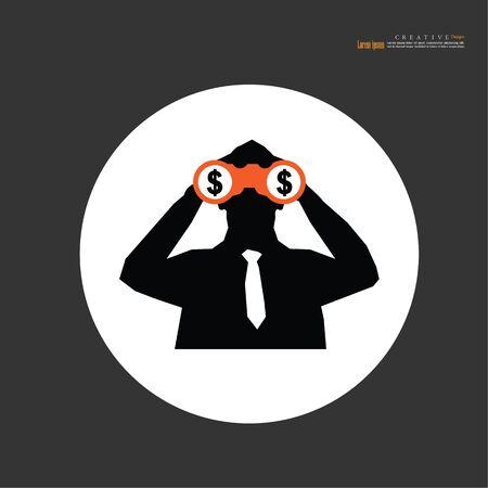 man with binoculars on white background. vector illustration. Stock Illustratie