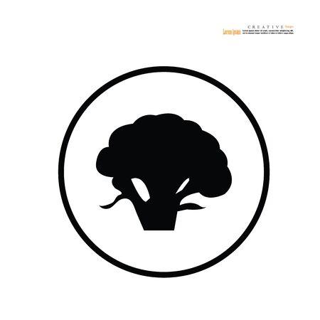Broccoli icon on white background.Nutrition icon symbol.Vector illustration.