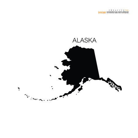 Alaska State map on white background - Vector illustration.