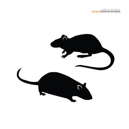 Icono de rata o ratón en silueta de vector de fondo blanco - ilustración vectorial.