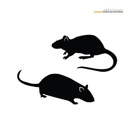 Rat or mouse icon on white background- vector silhouette - Vector illustration.