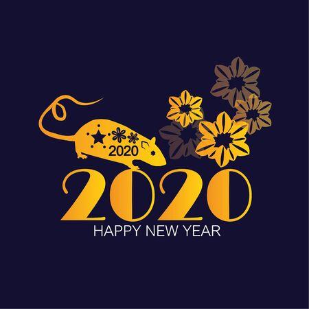 Happy chinese new year 2020 Rat zodiac sign - Vector illuatration.