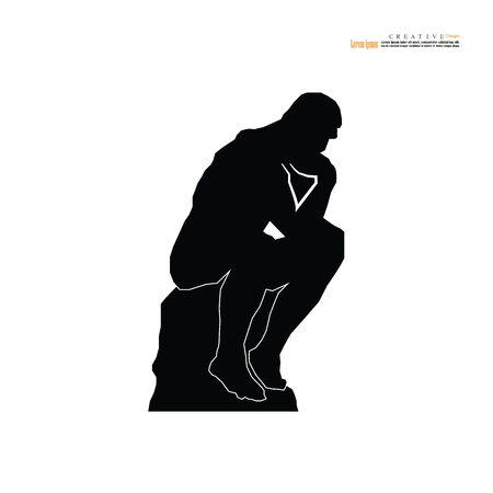 La statue du penseur du sculpteur français Rodin. illustration vectorielle. Vecteurs