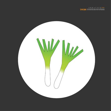 Green spring onion isolated on the white background. vector illustration.