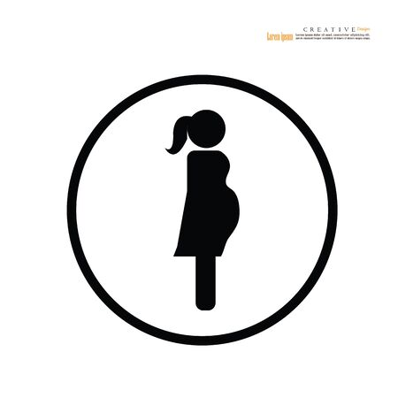 woman icon on white background. Pregnant woman vector. vector illustration.