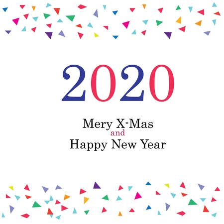 2020 Happy New Year greeting card design. Vector illustration. Stock Illustratie