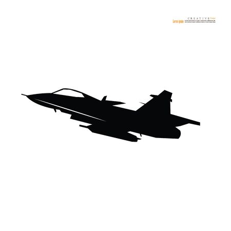 Military plane fired a missile icon on white background. Fighter jet design.vector illustration.