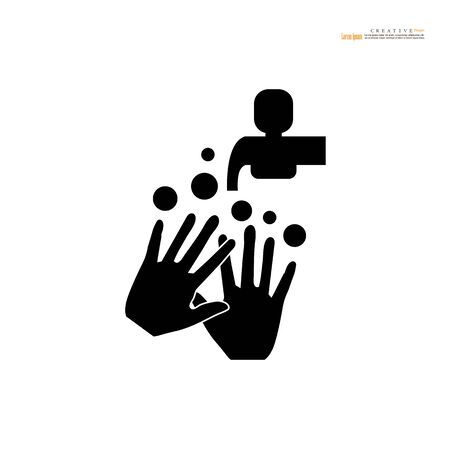 washhands icon on white background.vector illuatration.