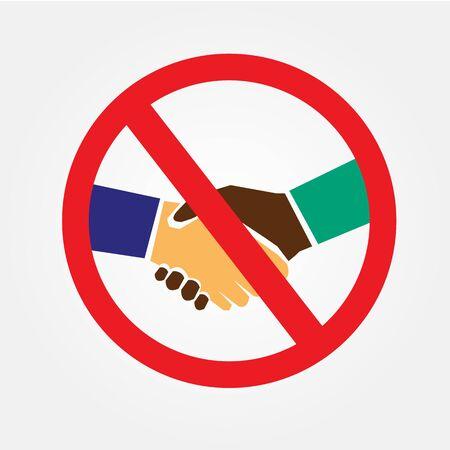 No handshake sign on white background.covid19 virus crisis concept.vector illustration.eps10. Ilustração Vetorial