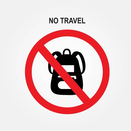 Flat illustration of suitcases in the prohibition sign. Stop cargo.No Travel sign on white background.Vector illustration.