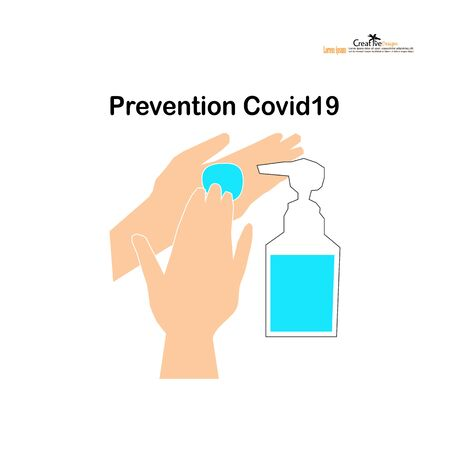 washing hands with alcohol gel.Hygiene concept. prevent the spread of germs and bacteria and avoid infections corona virus covid19.vector illustration.