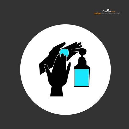 washing hands with alcohol gel.Hygiene concept. prevent the spread of germs and bacteria and avoid infections corona virus covid19.vector illustration.  イラスト・ベクター素材
