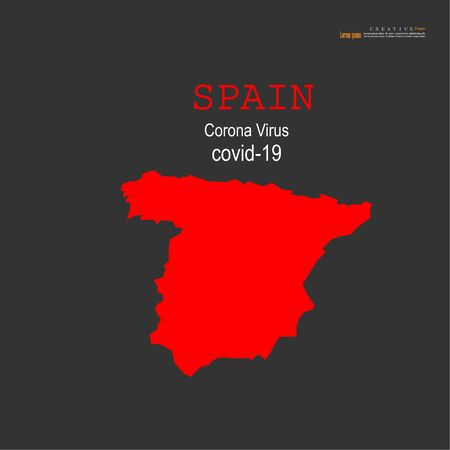 Red political Spain Map on white background.Corona virus Covid19 situation.vector Illustration. 矢量图像