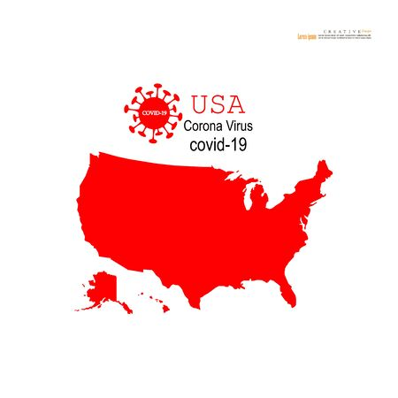 Red political World Map on white background.Corona virus Covid19 situation.vector Illustration.