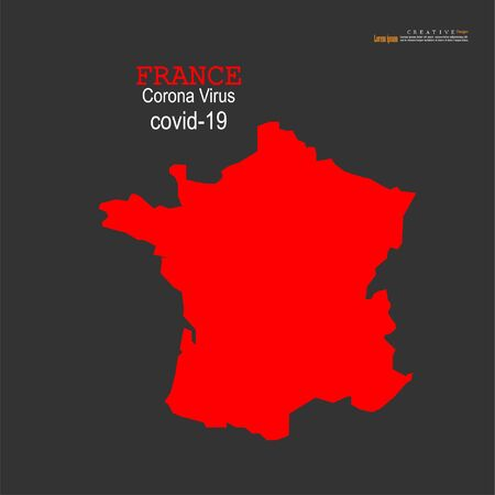 Red political France Map on white background.Corona virus Covid19 situation.vector Illustration.