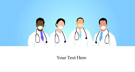 Group of Doctors with stethoscope around  neck on blue background.vector illustration. 矢量图像