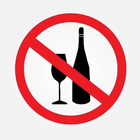 No alcohol drink sign on white background.no drink.prohibits sign vector.vector illustration.