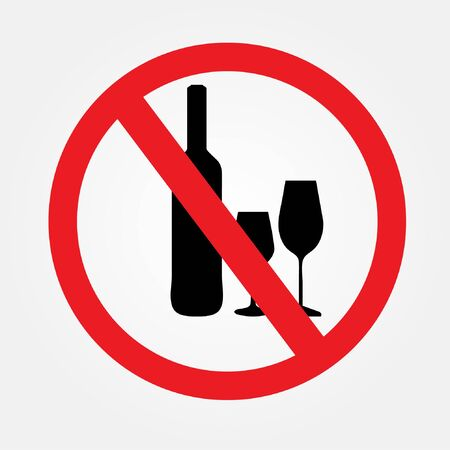 No alcohol drink sign on white background.no drink.prohibits sign vector.vector illustration. Vettoriali
