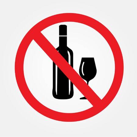 No alcohol drink sign on white background.no drink.prohibits sign vector.vector illustration. Vektorové ilustrace