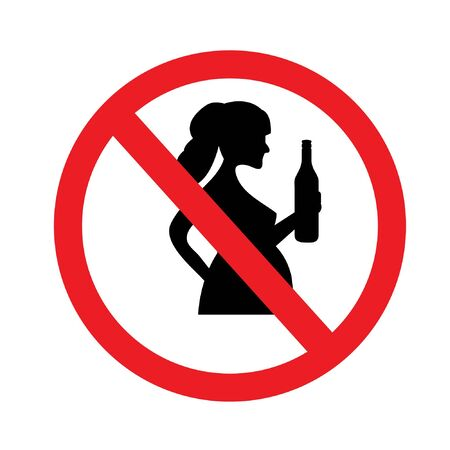 No alcohol during pregnancy vector sign illustration isolated on white background.vector illustration. Ilustração