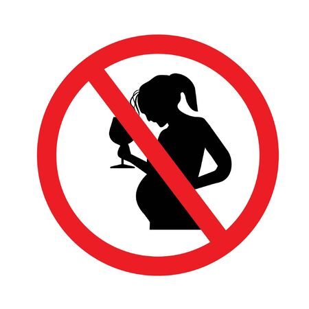 No alcohol during pregnancy vector sign illustration isolated on white background.vector illustration. 矢量图像