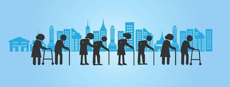 old man icon with buildings on blue background.elder symbol.vector illustration. 矢量图像