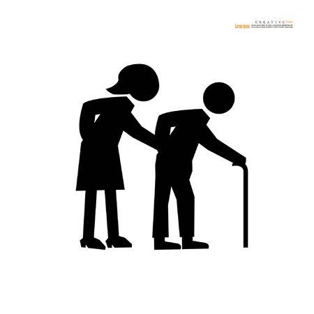 old man icon on white background.elder symbol.vector illustration.
