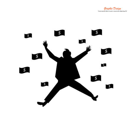 Rich businessman in suit jumping with dollar bills.financial concept.vector illustration.