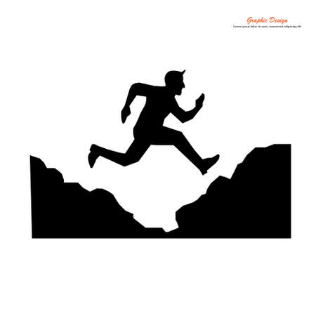 Man jumping over precipice between two rocky mountains vector. Freedom, risk, challenge, success.A man  jump  over mountain.vector illuatration.
