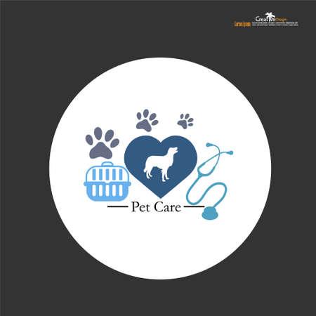 Pet shop logo with dog, paw,stethoscope and basket.vector illustration.