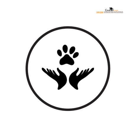 Hand holding paw icon. Animal care and protect.vector illustration. 矢量图像