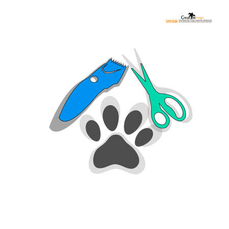 Hair clipper   scissors and paw vector icon on white background, Hair clipper icon.vector illustration.