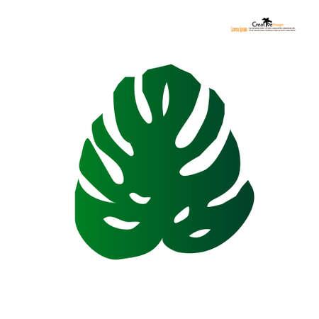 Monstera leaves icon on white background. Vector illustration.