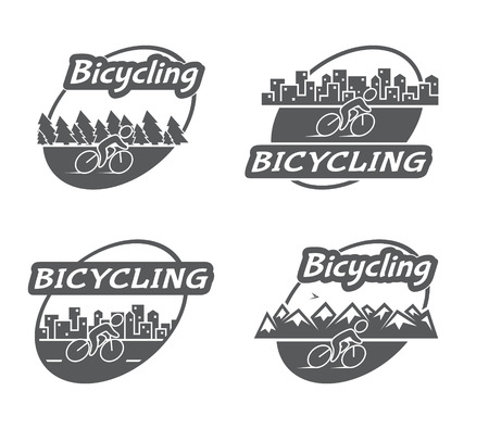 bicycling: Retro bicycling. Bicycle and cyclist. Vector