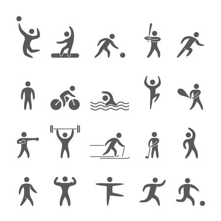 blacks: Silhouettes figures of athletes popular sports Illustration