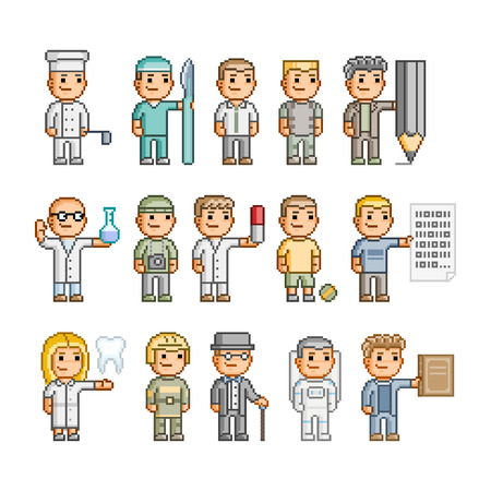 Pixel art collection. People of different professions 向量圖像