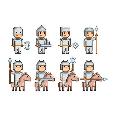 Vector pixel art army of knights and horsemen Vector