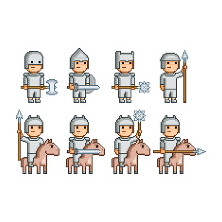 iron horse: Vector pixel art army of knights and horsemen