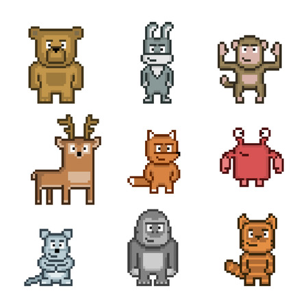 Pixel art collection of cute and funny animals