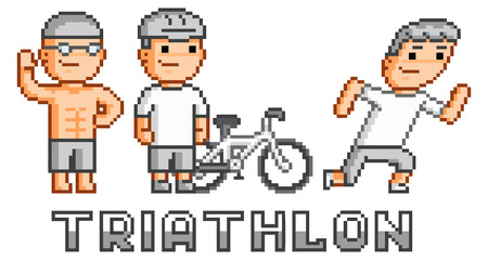 Pixel funny logo triathlon for game and design Vector