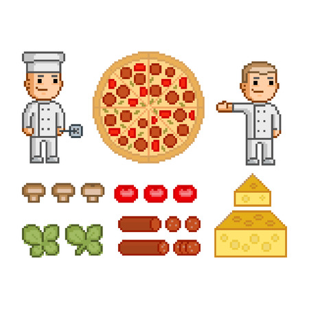 pizza maker: Pizza maker, pizza and ingredients for pizza