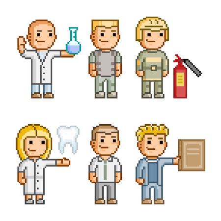 diferentes profesiones: Colecci�n de arte del pixel de diferentes profesiones
