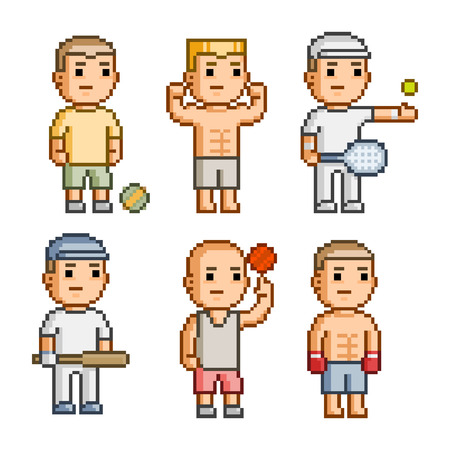 Pixel art collection of different characters athletes Ilustração