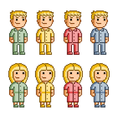 users video: Pixel art collection of colorful people